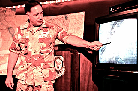 "Photo caption reads. The first JFACC: Lieutenant General ""Chuck"" Horner briefing the media during Operation DESERT STORM in 1991 (United States Air Force photo). End caption."