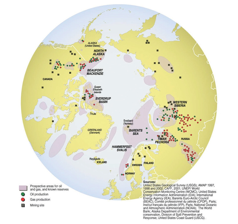 Figure 5 is a map of the northern hemisphere that presents the Arctic's mining sites as well as current and prospective oil and gas locations. With the exception of Greenland (which does not have any), the mining sites are equally spread throughout the northern regions of North America and Eurasia. The current oil and gas locations are clustered in Canada's Queen Elizabeth Islands, in Alberta, along the North Alaskan coast, in Western Siberia, in mainland Russia, in Russia's Timan-Pechora Basin and, to a lesser extent, off Norway's eastern coast. The known reserves and prospective locations for oil and gas account for approximately 30 per cent of the area and encircle the polar ice cap. End Figure 5.