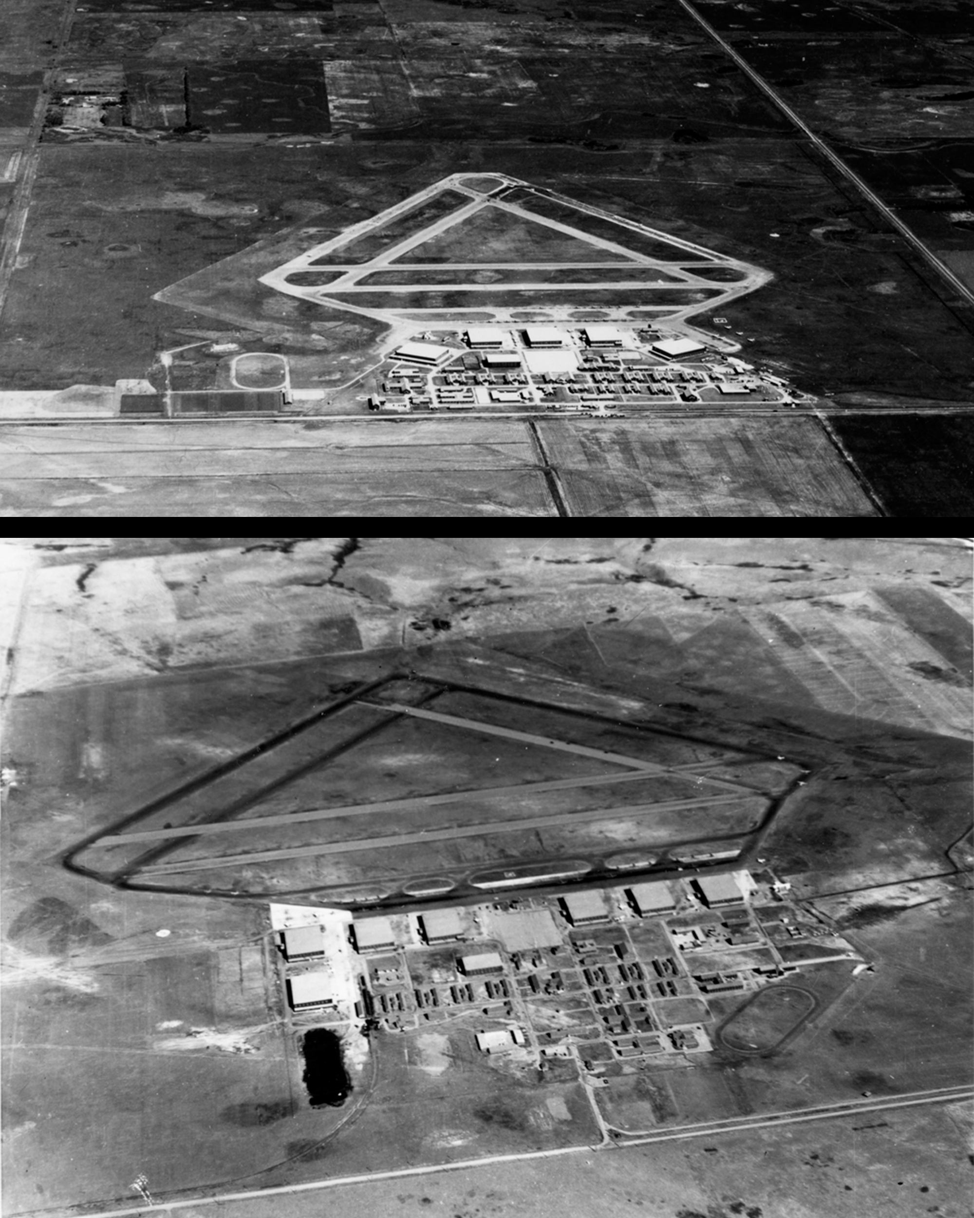 No. 12 Service Flying Training School at RCAF Brandon, Manitoba (top), and No. 39 SFTS at RCAF Swift Current, Saskatchewan, exhibit the standard British Commonwealth Air Training Plan airfield layout. PHOTO: DND