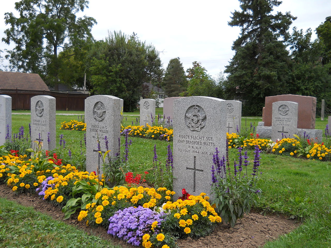 In the Knox Presbyterian Cemetery in Jarvis, Ontario, the final resting places of Australian, British and New Zealand candidates who were killed during training at No. 1 Bombing and Gunnery School at RCAF Jarvis are tended by the Commonwealth War Graves Commission. PHOTO: J. S. Bond
