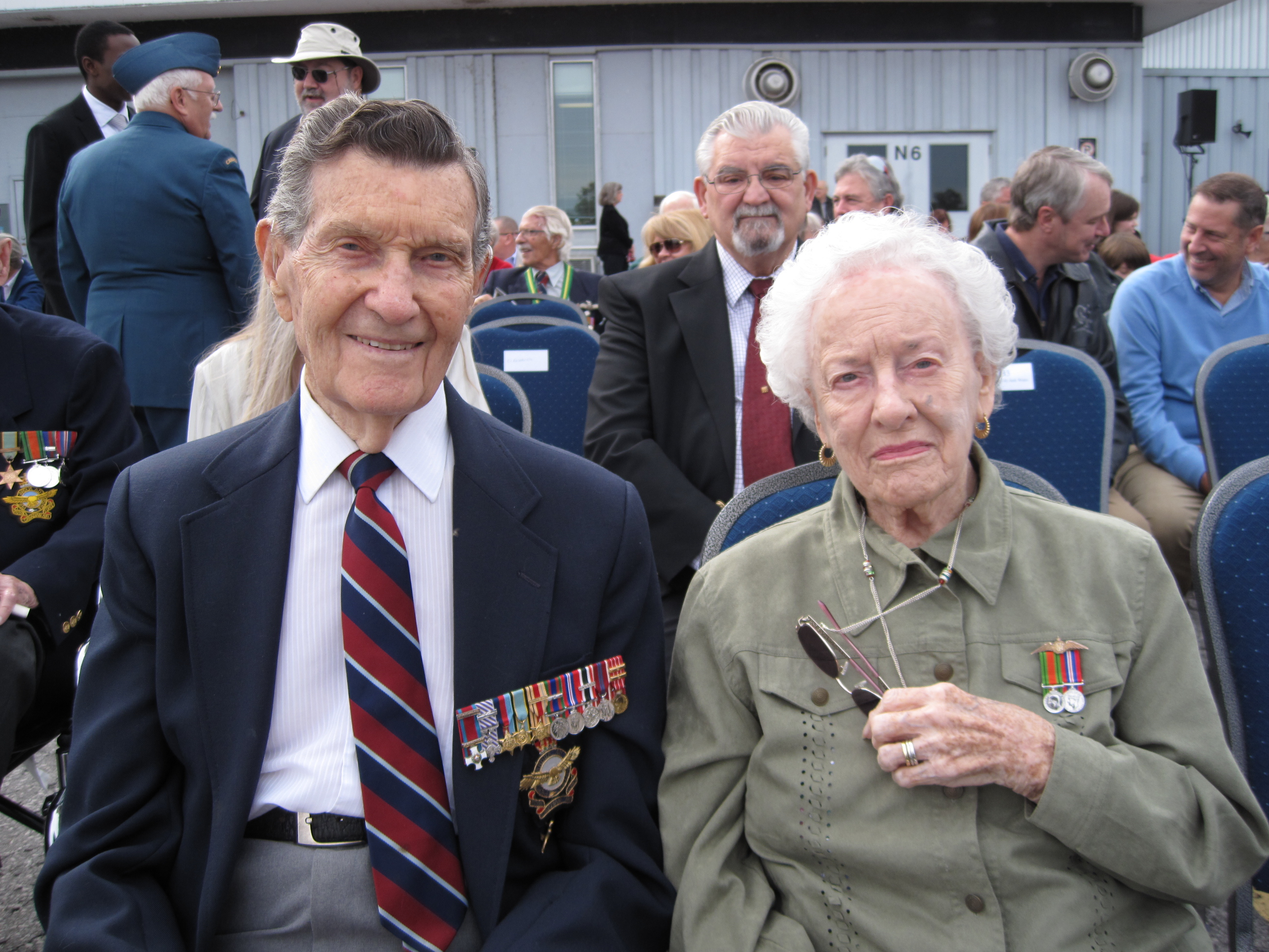 Brigadier-General (retired) Jack Watts, DFC, a Bomber Command navigator, and his wife Norma Zelia Watts, attend the Battle of Britain Parade held at the Canadian Aviation and Space Museum in Ottawa on September 15, 2013. They met in England in the spring of 1944 while Mrs. Watts, néeTilley, was serving with the Women's Auxiliary Air Force, also with Bomber Command. PHOTO: Holly Bridges