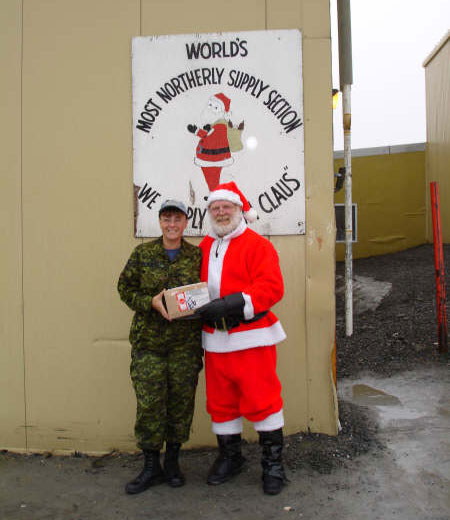 "Canadian Forces Station Alert in Nunavut – the most northerly, permanently inhabited location in the world – has a secret mission: supplying Santa's raw materials for his annual gifts. The sign reads: ""World's most northerly supply station. We supply Santa Claus."" PHOTO: Courtesy Master Corporal Joanne Grasser"