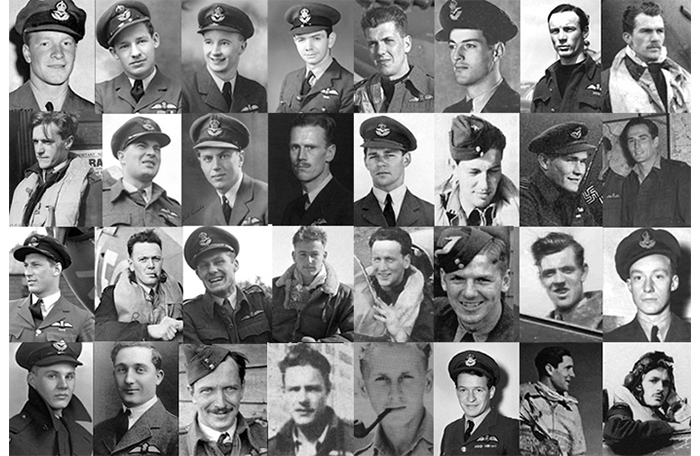 slide - Black and white photographs of 32 young men in Second World War Royal Canadian Air Force uniforms and flight suits.
