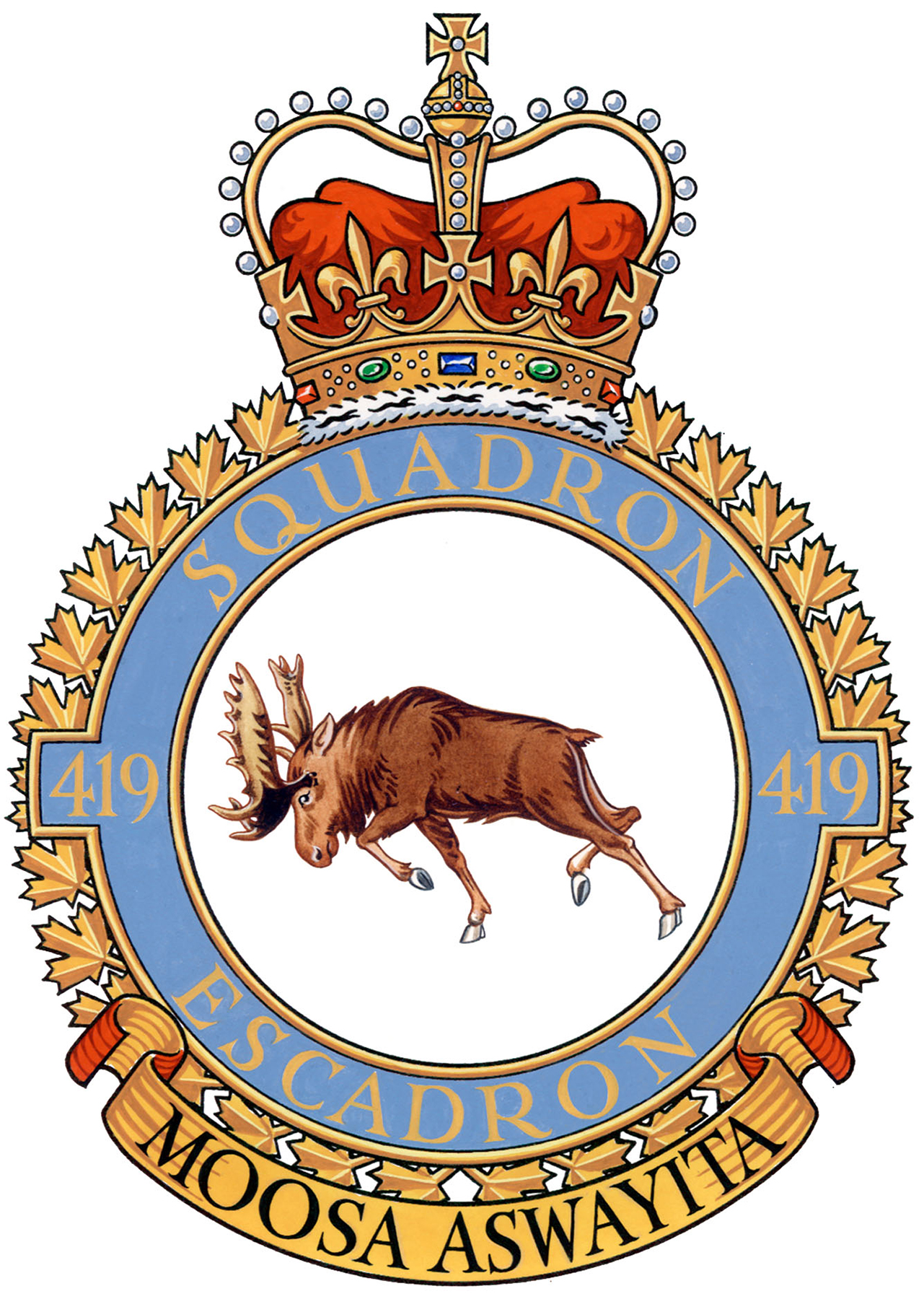 "The 419 Squadron's badge. The motto – Moosa aswayita – is a Cree phrase meaning ""beware the moose"".  IMAGE: DND"