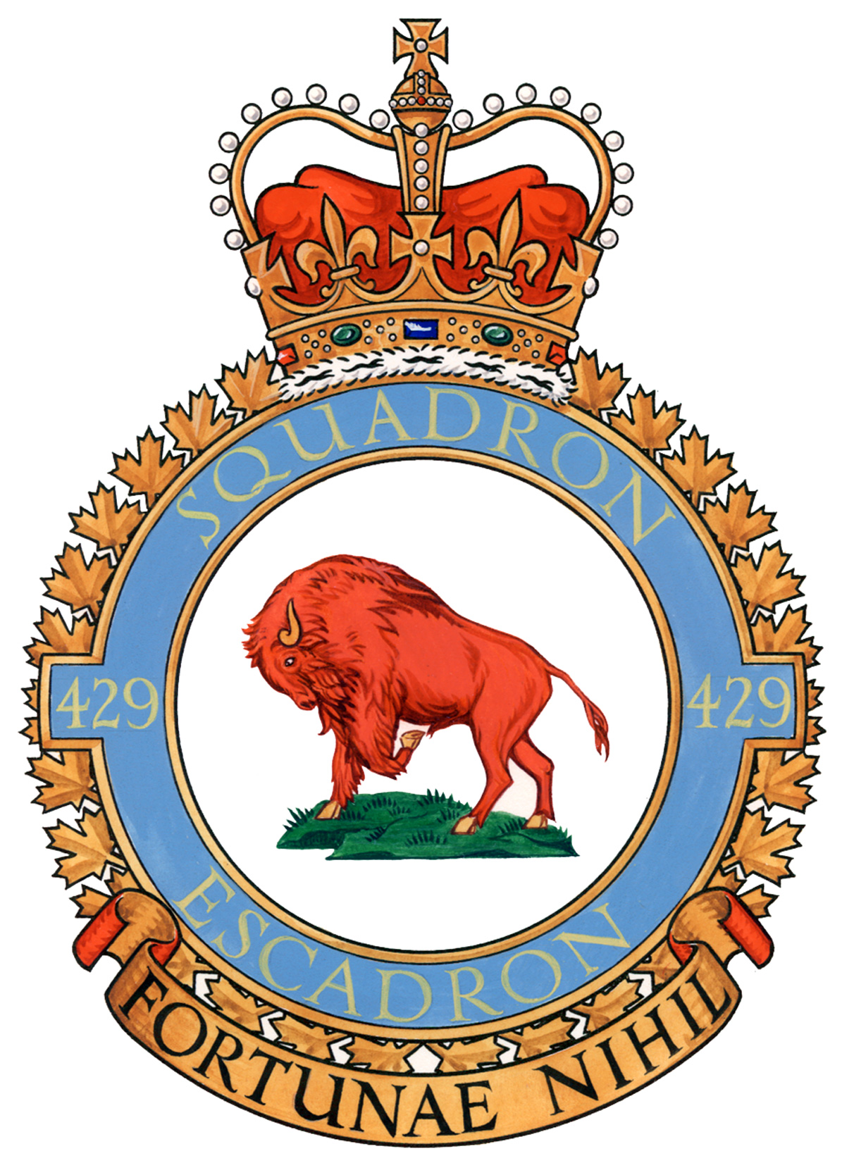"429 Squadron's crest features a bison at its centre and squadron members are nicknamed ""Bisons"". IMAGE: DND"