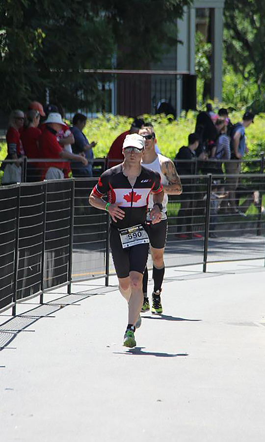 Major Eric Travis runs 13.1 kilometres during the final leg of the 2017 Ironman Mont-Tremblant 70.3 Triathlon. PHOTO: Submitted