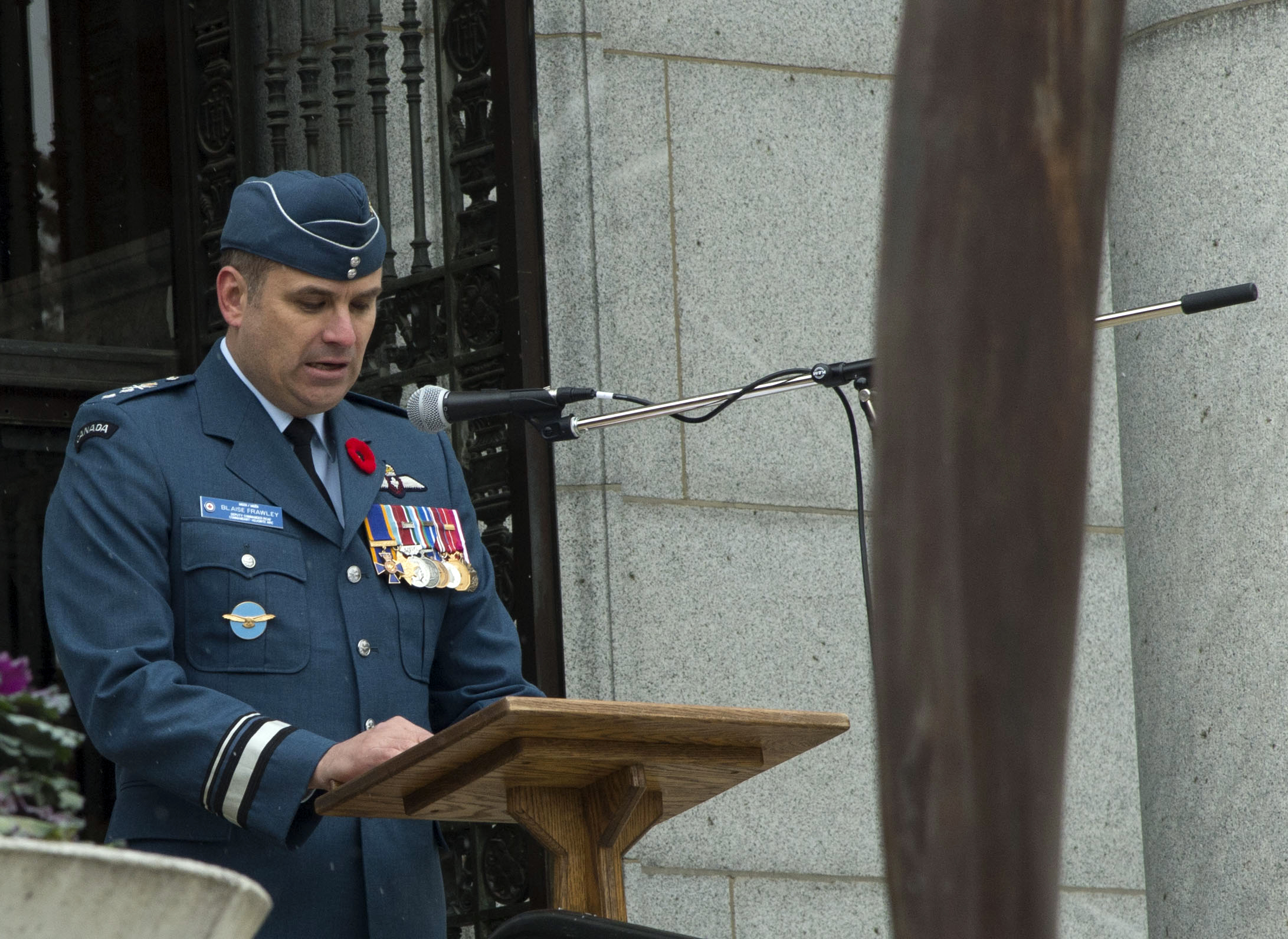 Major-General Blaise Frawley, deputy commander of the Royal Canadian Air Force, speaks during the Royal Canadian Air Force Remembrance Day ceremony at the Lieutenant-Colonel William Barker, VC memorial in Mount Pleasant Cemetery in Toronto on November 11, 2017. PHOTO: Ordinary Seaman Larissa De Guzman, BM05-2017-0381-11