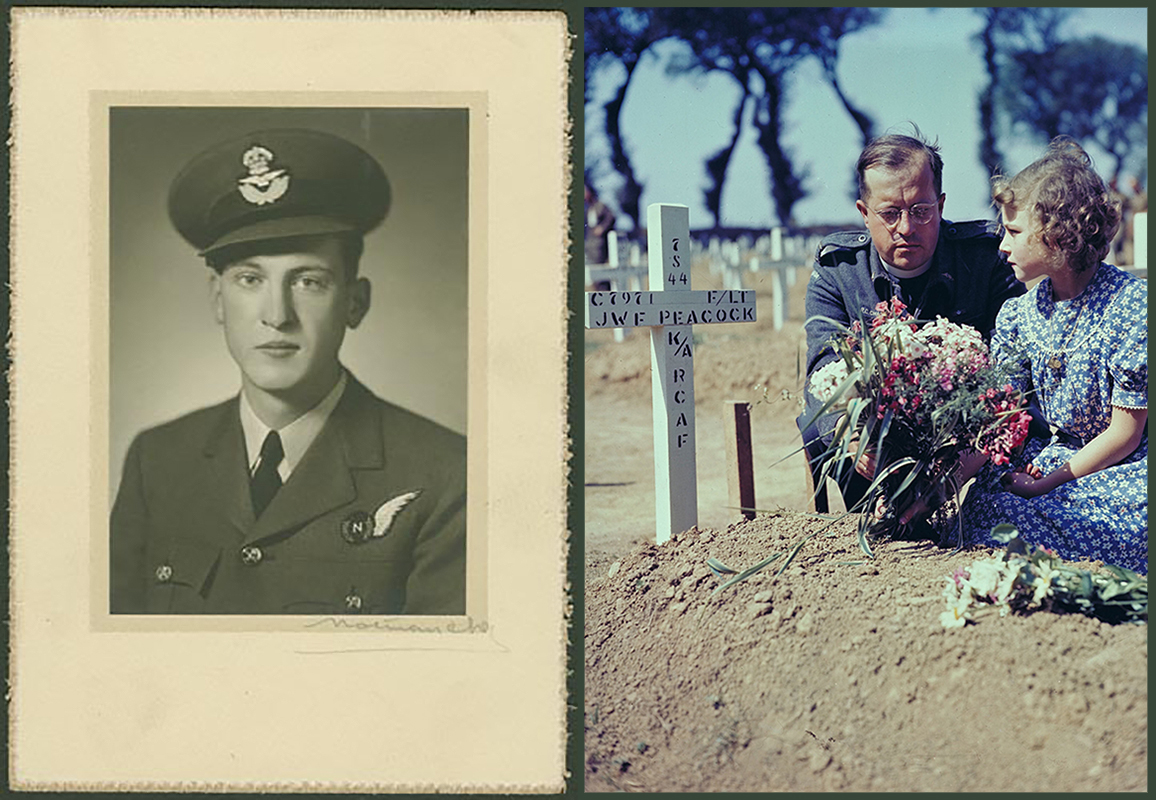 Flight Lieutenant Navigator John Williamson Frederick Peacock (left), from Montreal, Québec, was killed on active service in Europe on August 7, 1944. On Remembrance Day, November 11, 1995, in Beny-sur-Mer Canadian War Cemetery in France, a Royal Canadian Air Force padre and a young girl place flowers on Flight Lieutenant Navigator Peacock's grave. PHOTOS: Peacock, Canadian Virtual War Memorial; Grave, DND Archives, PCN-1995