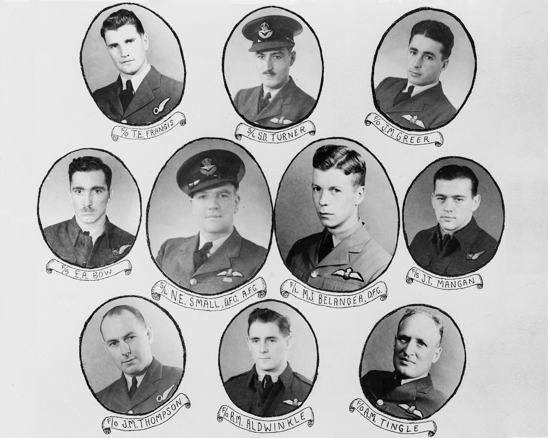 RCAF officers on the Kings Honours List, New Year's 1942-1943, from N.S. MacGregor Album No. 1. PHOTO: Corporal Kevin Sauvé, PMR77-157