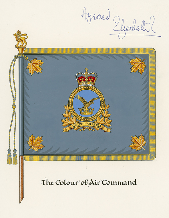 "The artist's design of the Colour of Air Command, signed as ""approved"" by Queen Elizabeth II. Following the unification of the Canadian Armed Forces (CAF), a new set of Colours, whose design conformed to new CAF policy, was presented to Air Command on July 31, 1982, by Governor General Edward Schreyer in Winnipeg, Manitoba. Reflecting the Air Force's new identity as Air Command, the Air Command Colour had the Air Command badge at its centre, portraying an eagle flying upwards from a crown. The Air Command motto shown on the badge, Sic Itur Ad Astra (""Such is the pathway to the stars""), was the motto of the first Canadian Air Force, before it became the ""Royal"" Canadian Air Force in 1924. This motto was retained when the name Royal Canadian Air Force was restored to the air element of the CAF in 2011. IMAGE: DND"