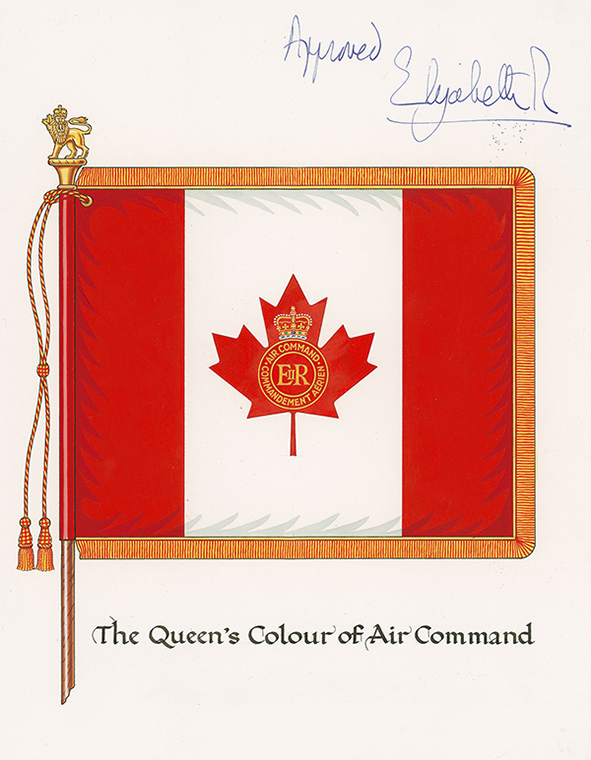 "The artist's design of the Queen's Colour of Air Command, signed as ""approved"" by Queen Elizabeth II. Following the unification of the Canadian Armed Forces (CAF), a new set of Colours, whose design conformed to new CAF policy, was presented to Air Command on July 31, 1982, by Governor General Edward Schreyer in Winnipeg, Manitoba. Reflecting the Air Force's new identity as Air Command, the Queen's Colour carried the name ""Air Command"" on a maple leaf flag. IMAGE: DND"