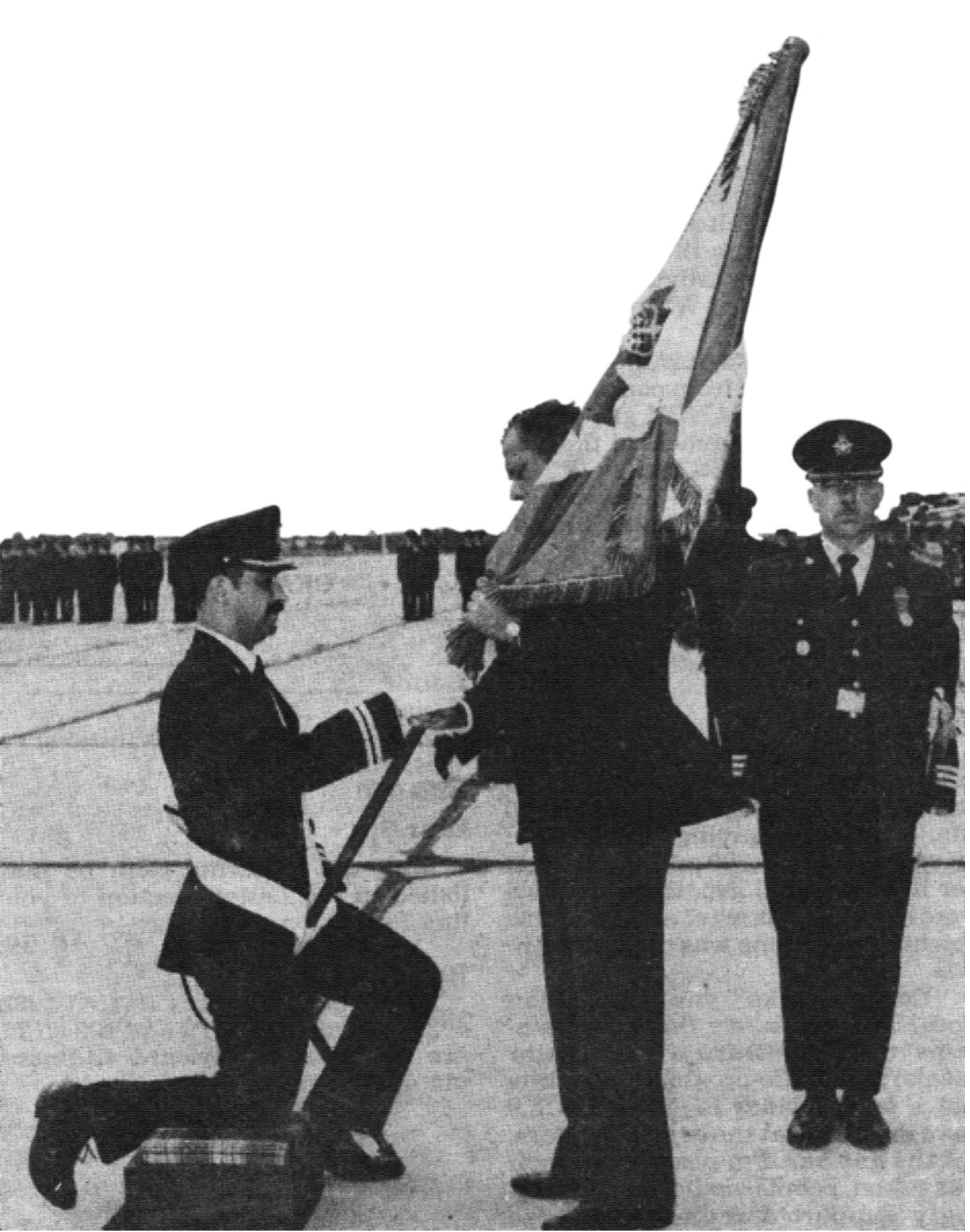 Following the unification of the Canadian Armed Forces, the Air Force received its second stand of Colours, reflecting its identity as Air Command, on July 31, 1982, in Winnipeg, Manitoba. Here, Governor General Ed Schreyer presents the Queen's Colour.