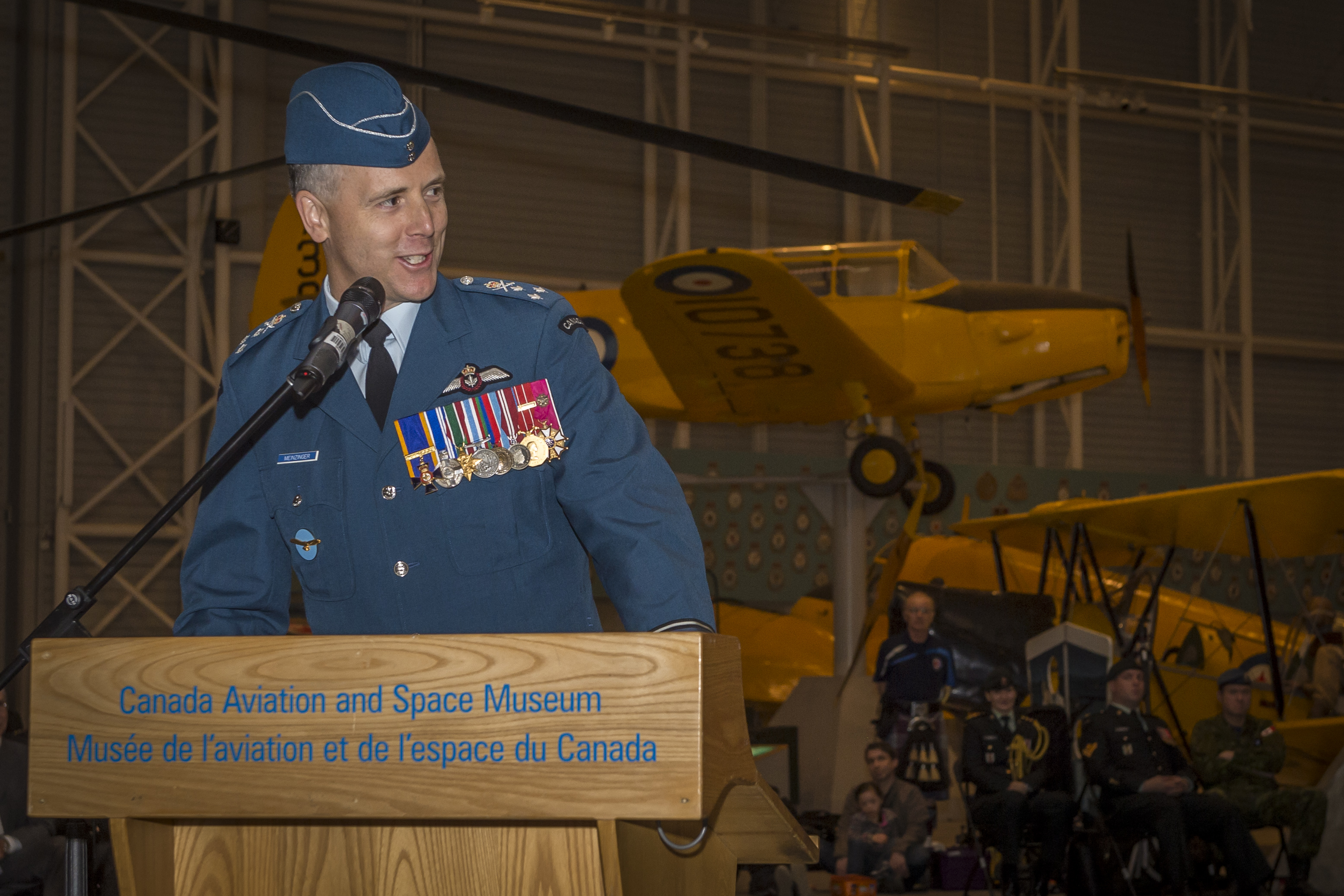 "'People, Policy, Program and Posture' will be anchor points for us as we move ahead,"" said Lieutenant-General Al Meinzinger, the new commander of the Royal Canadian Air Force, during his speech at the change of command ceremony held May 4, 2018. PHOTO: Corporal Alana Morin, FA03-2018-0040-004"
